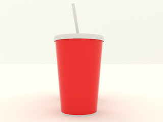 Several different paper cup set with red blank for design. Isolated on background. High resolution 3d illustration
