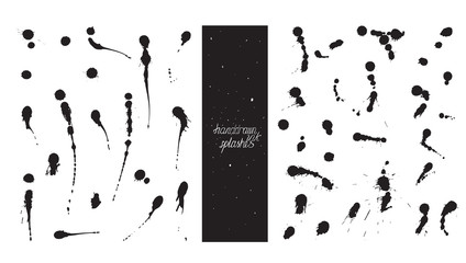 Set of brush and nib drops blobs, made with hand and ink, freehand, with lots of splashes and smears. Vector black and white illustration, good for creative designs, drawn with imperfections