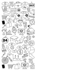 Vector set of doodle business icons on white paper