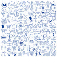 Vector set of doodle business icons