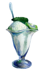 watercolor sketch: ice cream on white background