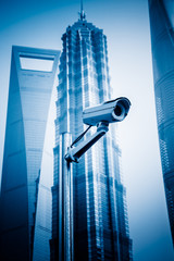 security camera with the skyscrapers background