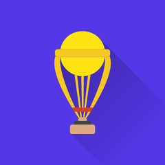 Trophy flat icon. Colored flat image with long shadow on blue background. Cricket game equipment, flat icons composition. Professional sport theme. Unique, modern style. Vector concept.