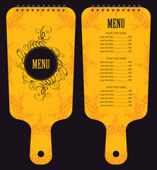menu for the restaurant in the form of cutting board