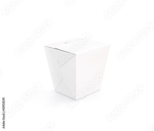Closed white blank wok box mockup stand isolated, 3d rendering ...