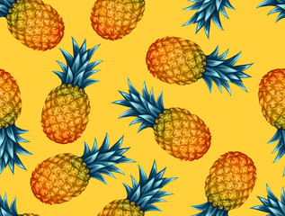 Seamless pattern with pineapples. Tropical abstract background in retro style. Easy to use for backdrop, textile, wrapping paper, wall posters