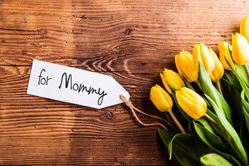 Mothers day composition, Yellow tulips and for Mommy tag
