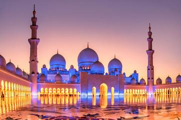 Canvas Prints Abu Dhabi Sheikh Zayed Grand Mosque at dusk in Abu Dhabi, UAE
