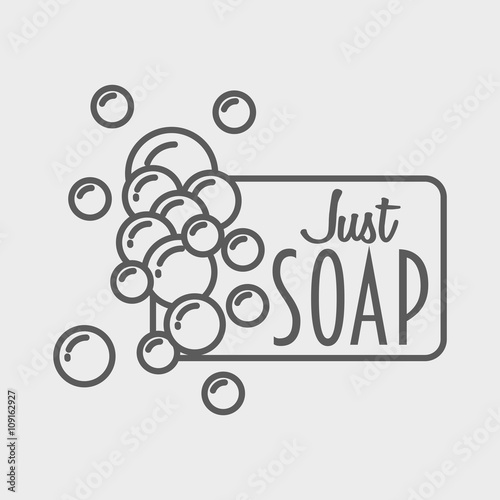 "soap logo, badge or label design template with foam"" stock image and"