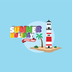 Summer holiday retro cartoon theme