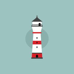 beach lighthouse flat illustration