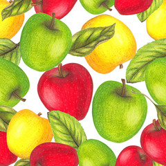 Seamless pattern with hand drawn apples