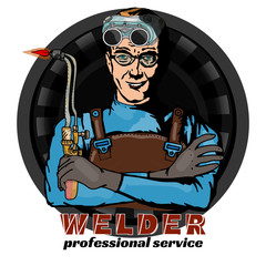 Welding professional welder and tools pop art