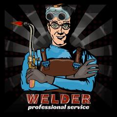 Professional welder pop art style
