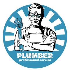 Professional plumber pop art