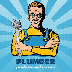 Plumber pop art vector illustration