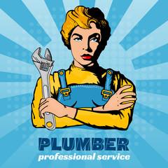 Plumber woman pop art vector illustration