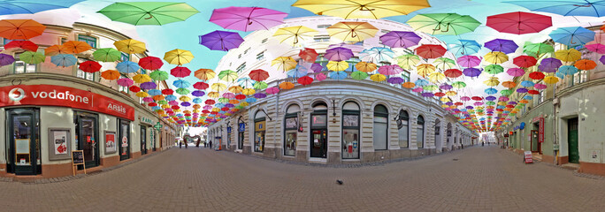 360  Panoramic Surround with colored umbrellas in Timisoara, Romania