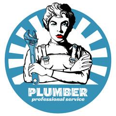 Professional plumber sticker pop art vector