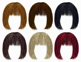 set of   hairs  different colors .kare fringe