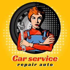 Car servise beautiful woman pop art vector illustration