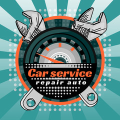 Car service crossed wrenches vector illustration