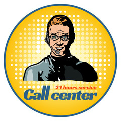 Call center technical support operator pop art