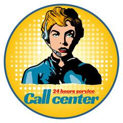 Call center woman operator pop art