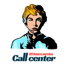 Call center operator support manager pop art