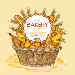 Bakery basket food watercolor template hand drawn sketch