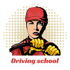 Driving school beautiful girl in the car pop art vector