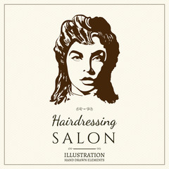 Hairdressing salon logo barbershop beautiful woman silhouette