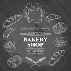 Bakery shop fresh pastries bread and buns on the blackboard