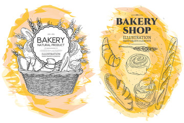 Bakery basket. Bakery shop. Food template hand drawn sketch