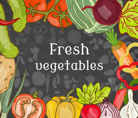 Fresh vegetables on the table hand drawn vector