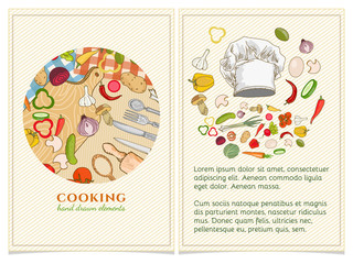 Cooking cookbook template hand drawn elements.