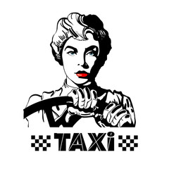 Taxi. Woman driving a car pop art style