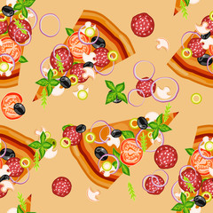 Pizza ingredients seamless pattern vector illustration