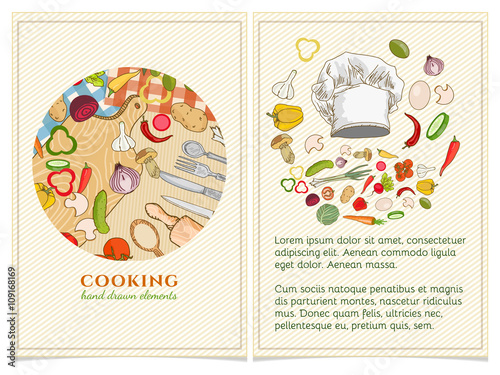 cooking cookbook template hand drawn elements stock image and