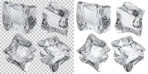 Set of four transparent and four opaque ice cubes in gray colors. Transparency only in vector file