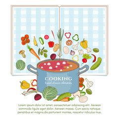 Cooking background template vegetables fly in a pan