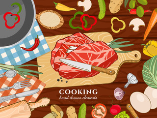 Cooking kitchen table time to cook cooking recipes fresh meat