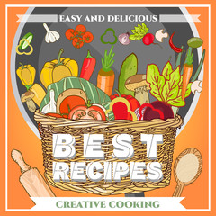 Best recipes poster template fresh vegetables
