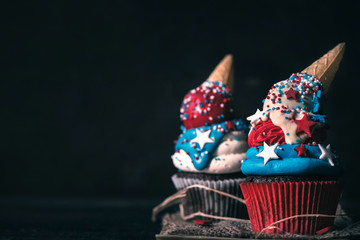 Homemade cup cakes with USA decoration