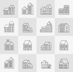 set of linear urban buildings and illustrations of houses and architectural signs. For website design, business cards, invitations and flyers on the urban theme with a linear fashion graphics.