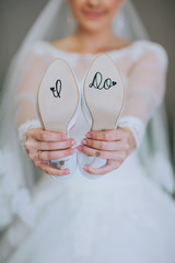 I Do Stickers on Bride's Shoes