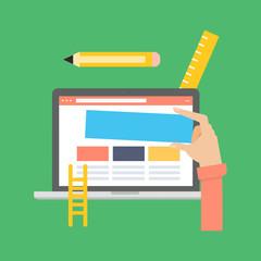 Flat design modern vector illustration concept for website content management