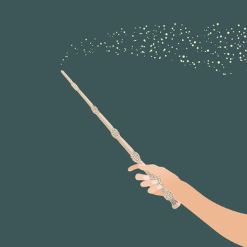 hand with  magic wand for witches and wizards / vintage magic stick for witchcraft schools and fantasy games