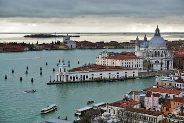 Panoramic view of Venice from the Campanile on a cloudy day