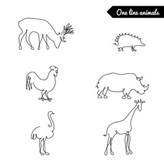 One line animals set, logos / vector stock illustration / deer, elk,giraffe, orstich, rooster, 